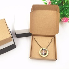 50set  Kraft Brown Paper Earring/Necklace Displays Boxes 6*6*1.5cm Jewelry Pendant/accessory Carrying Cases/Packing Box