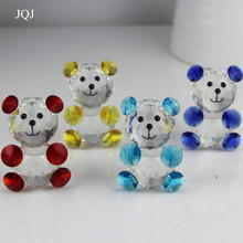 JQJ Crystal Glass Teddy Bear Figure Ornaments Feng shui DIY Wedding Home Decor Figures Christmas Sale Kids Birthday Party Gifts