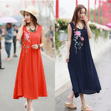 Ethnic Gown Robe 2017 Women Summer Sleeveless O Neck Dark Blue Orange Floral Embroidery Maxi Dress Plus Size Mexico Style Dress