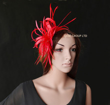 2017 NEW RED Simple Sinamay Feather Fascinator hat for Melbourne cup Derby Kentucky Wedding Royal Ascot. FREE SHIPPING(China)
