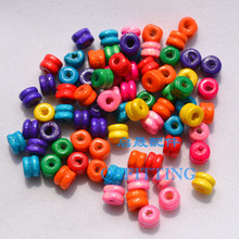 supply DIY fashion jewerly accessory,6*5MM Cylindr shape wood beads,bracelet accessory,mix colors(China)