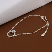 New Wholesale Sterling 925 sterling Silver Anklets,925 Silver Fashion Jewelry,Zircon circle Anklets for Women love chain,A009