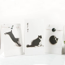 3 pcs/set 23*13cm Black cat Paper Best Gift Bags with Sticker Christmas Wedding Party holiday Universal Candy Food Packaging bag