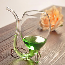 2 pieces 300ML Transparent round hand made straw wine glass cup novelty wine glass with straw yizi Gift Juice milk glass mug