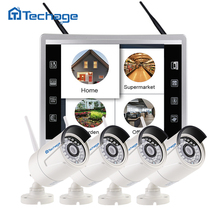 "Plug And Play 4CH Wireless 11.7"" LCD Screen Monitor NVR Kit P2P 1080P 2MP Video Security CCTV IP Camera WIFI Surveillance System"