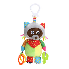 Baby Kids Plush Rattle Toys Educational Musical Soft Baby Teether Bed Stoller Hanging Musical Raccoon Toys Baby Toy Gift(China)