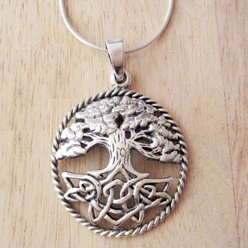 Silver Round Celtic Tree Of Life Stainless Steel Pendant Brown Leather Necklace