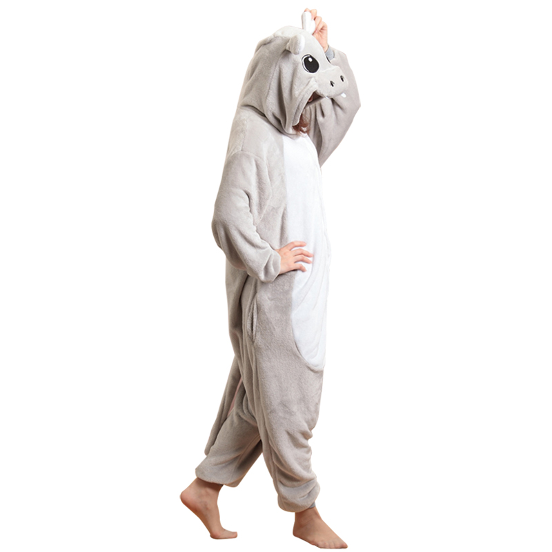 Animal-Hippo-Onesie-Adults-Men-Women-Pajamas-Cartoon-Overalls-Blue-Gray-Warm-Kugurumi-Couple-Party-Jumpsuit