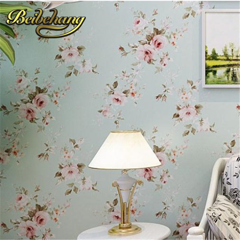 beibehang papel de parede. Background wall floral wallpaper pvc wall covering classic flower for living room &amp; bedroom green,<br>