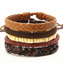 New Punk 4 Pcs/set Beads Wing Charm Handmade Woven Men Leather Bracelets Women Vintage Bangle Male Homme Men Jewelry Accessories(China)