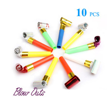 10Pcs Funny Cute Blowouts Party Decoration Noisemakers Birthday Wedding Blow Outs Noisemakers Colors Favours(China)