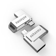 Eshanmu 2017 fashion Metal otg Usb 2.0 Cle Usb 8/16/32/64 gb Usb Flash Drive Full Capacity Pendrive usb memory stick gift