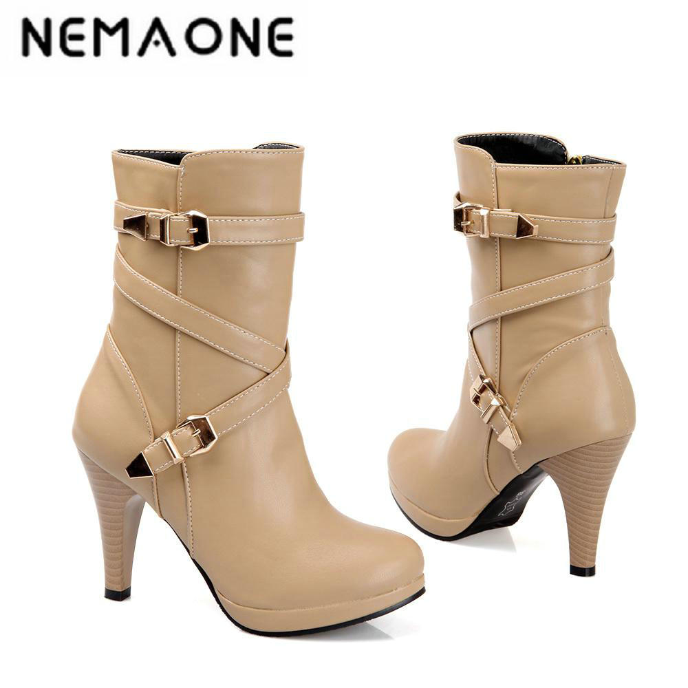 2016 Sexy buckle women Boots Thin High Heels Boots Womens Solid Spring Autumn Boots Fashion Dating Women Shoes large size 34-46<br>