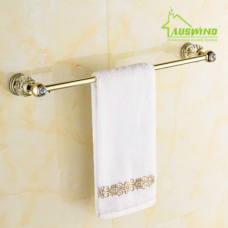 Antique Solid Brass Gold Single Crystal Blue Towel Bar Single Towel Rack Bathroom Products Accessories<br><br>Aliexpress