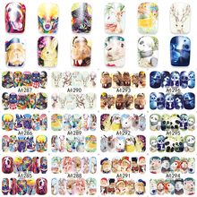 12 Pieces/Set Cute Panda Dog Christmas Deer Decals Nail Art Stickers Decorations Polish Gel DIY Beauty A1285-1296