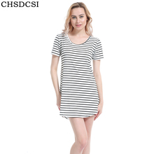Female Work Sundress Loose Black White Striped Dress Woman High Quality O Neck Summer Beach Dress Plus Size Women Clothing S200(China)