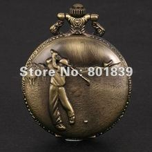 20PCS A LOT Vintage Style Bronze Golfer Boys Hit Golf Ball Pocket Watch With Chain Nice Gift Wholesale Price H149
