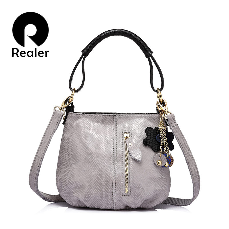 REALER new women  genuine leather handbag ladies Serpentine  shoulder bag fashion women small hobos bag<br>