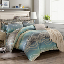 wave stripe printing Duvet cover set twin full queen king size 100% Cotton bedding sets 3pc/4pc quilt cover bed sheet pillowcase(China)