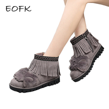 EOFK Women Keep warm Suede Leather Ankle Soft Short Plush Cute Boots Sweet Fring Shoes Woman Winter Flat With Shoes With Fur(China)