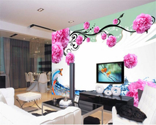 beibehang 3d wallpaper Senior stereo painting wallpaper fantasy peony TV background wall mural water lines papel de parede(China)
