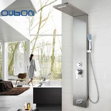 New Arrival Wall Mounted Bathroom Faucet Tap Rainfall Shower Panel Rain Massage System Faucet with Jets Hand Shower Brushed