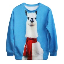 Hot Sale Couple Matching Men's Funny Harajuku Sled dog 3D Printed Loose Galaxy Pullover Sweatshirt Women's Blue Crewneck Hoodies(China)