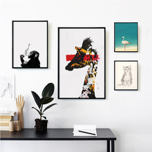 Nordic Giraffe Monkey Painting Abstract Art Canvas Art Print Poster Cat Deer Wall Picture Nursery Kids Room Decoration