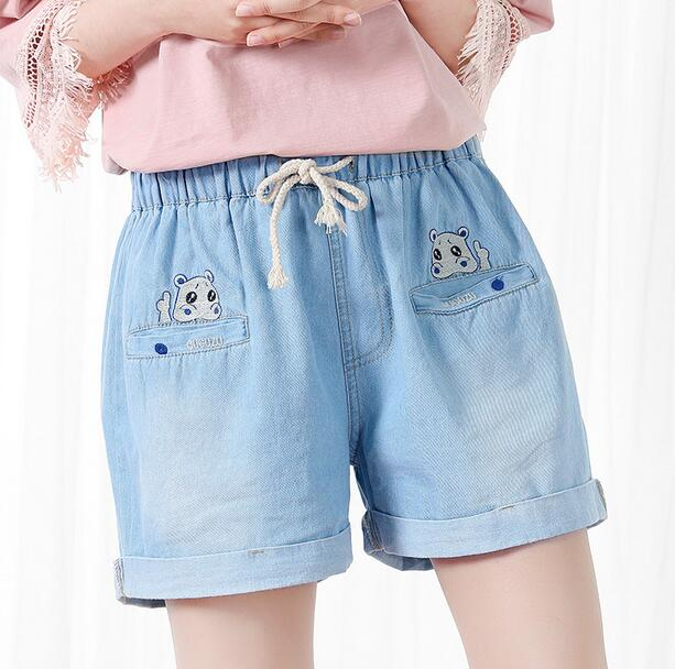 Hippo embroidery elastic waist casual Denim shorts jeans pants 2017 summer mori girlОдежда и ак�е��уары<br><br><br>Aliexpress
