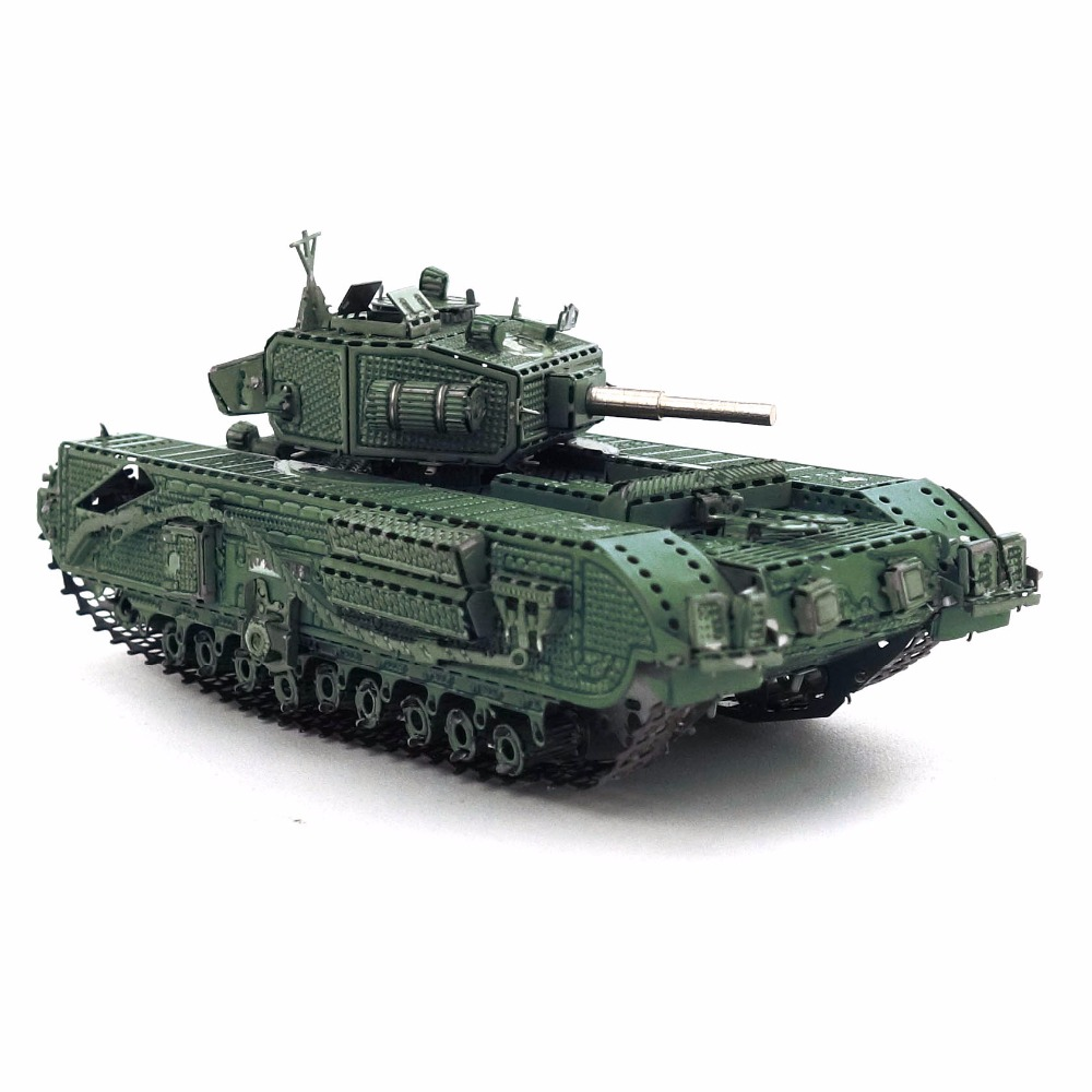 Color Churchill Tank 3D DIY Stereoscopic Metal Puzzle Nano-dimensional Assembling Model Birthday Gift Decoration Collection Toy 3