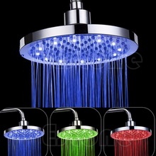 "HGNCHOIGE 8"" inch Round Rain Stainless Steel Bathroom RGB LED Light Shower Head #D7833#"