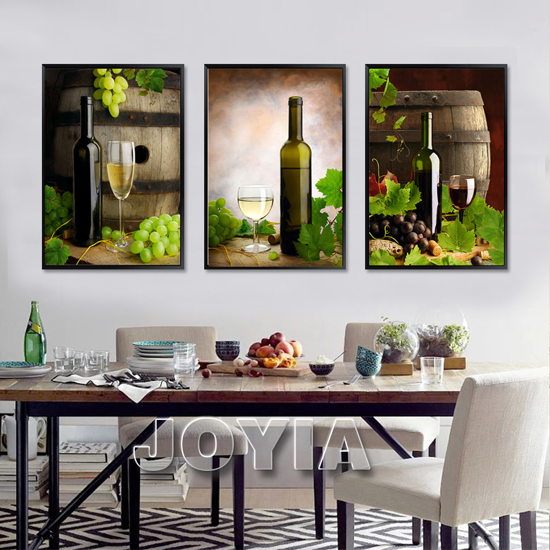 3 Panel Canvas Art Barrels White Wine Modern Wall Paintings Grapes Red Wine Art  Paintings For