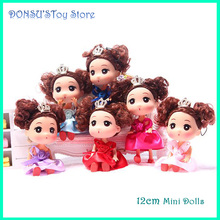 12cm Mini Dolls For Ddung Dolls Beautiful Clothes Wedding Style Decoration Kid Girl Toys Children Gift Cheap Free Shipping