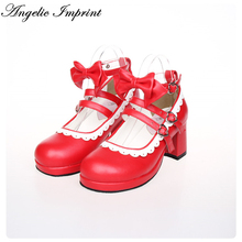 Lolita Maid Cosplay Shoes Red Leather Buckle Straps Princess Sweet Girls Pumps with White Lace and Bow(China)
