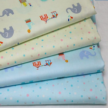 100x160cm Pretty Yellow Blue Colorful Dot & Cartoon Elephant Cotton Fabric Twill Cloth for Patchwork Quilting Flesh Tissue