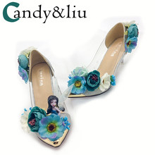 flower wedding shoes in the bride with fairy pointed rhinestone pearl  wedding banquet photo show nightclub women s singles 7e324a836c66