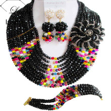 Laanc Nigerian Bridal Jewelry UK USA Black Multicolor Crystal Necklace Set AL356(China)