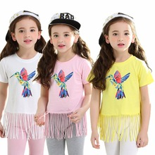 Cartoon Bird Girl Summer Clothes Sets Pink Fringe Tops + Capris Leggings Children's Clothing Suits White Cotton Kids Outfits(China)