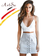 Buy ArtSu Lace Short Skirts Pu Leather High Waist Women Skirt 2017 Autumn Winter Pockets A-Line Mini Skirt Faldas Mujer ASSK20074 for $15.81 in AliExpress store