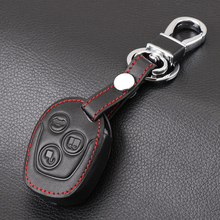 Genuine Leather car key cover sticker set protector accessories fit for ford Mondeo Fiesta Focus C-Max KA GALAXY remote holder(China)