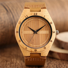 Buy Modern Bamboo Wrist Watch Men Handmade Bangle Simple Fashion Quartz Watches Leather Strap Luxury Nature Wooden Clock Unisex for $13.91 in AliExpress store