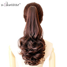 SNOILITE Synthetic Women Claw on Ponytail Clip in Pony Tail Hair Extensions Curly Style Hairpiece Black Brown Blonde Red(China)