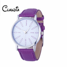 Newest 8Colors CLAUDIA Special Fashion Women Stainless Steel Leather Band Quartz Analog Wrist Watches FreeShipping Reloj Mujer