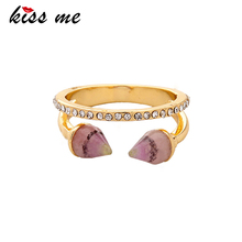 KISS ME New Synthetic Stone Pink Blue Rivets Vintage Finger Rings for Women 2017 New Fashion Jewelry(China)