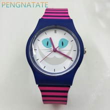 Women Cartoon Casual Waterproof Watches WILLIS Fashion Quartz Brand Sports Leisure Cats patterns Silicone Wristwatch PENGNATATE