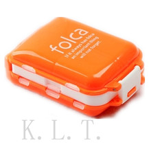1PCS Orange  Portable 8 Cell Health Care Candy Colors Folding Vitamin Medicine Drug Pill Box Makeup Container Storage Case