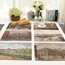 Mix 7 Style Scenic Table Napkins Printed European Classical Style Street Architecture Pictures Cheap-dish-Towels Cloth Linen Hot