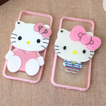 3D Hello Kitty Cover Bear Makeup Mirror Coque TPU Silicone Soft Transparent Lanyard Phone Case For iPhone 5 5S SE 6 6S 7 Plus