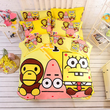 100% Cotton A Bathing Bape SpongeBob Bedding Set Kids Cartoon Duvet Cover Bed Sheet Pillow Case Bed Linen Twin/single Queen Size