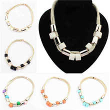 Hew fashion trend joker bib thick crystal pendant chain statement rope long necklace Pendant Chain Choker Bib Statement Necklace